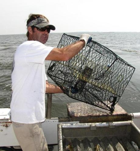 Marc Mitchum hoists a crab trap on his charter boat off Wanchese, N.C.