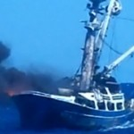 fishing vessel Betty C engulfed in smoke and flames