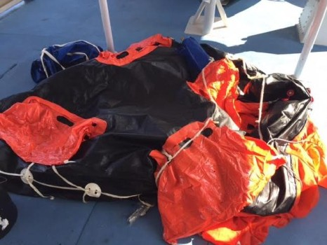 life raft, believed to be from a fishing trawler that has gone missing.