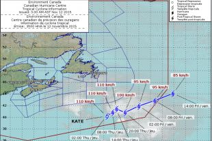 The Canadian Hurricane Centre's track map for tropical storm Kate