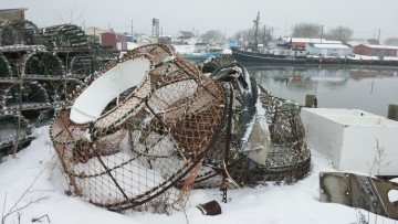 Crab traps wait on the wharf at Glace Bay
