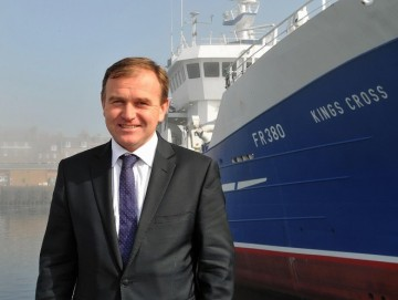 UK FISHERIES MNISTER GEORGE EUSTICE IN PETERHEAD. (DUNCAN BROWN)