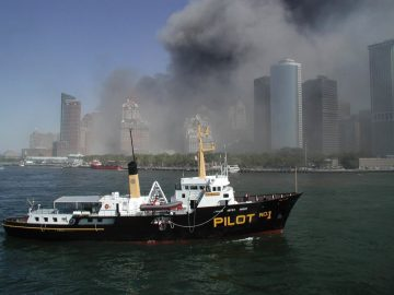 The pilot boat New York underway off Lower Manhattan on September 11 2001