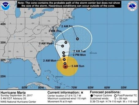 Hurricane Maria path: Category 2 storm may get uncomfortably close to East Coast before turning