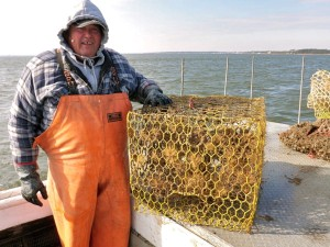 Waterman EC Hogge with a derelict crab pot retrieved from the York River.
